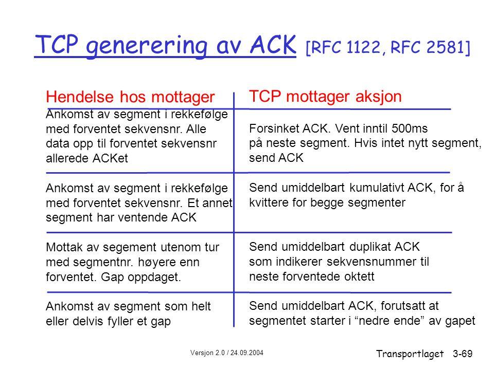 TCP generering av ACK [RFC 1122, RFC 2581]
